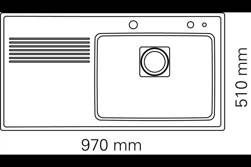 Kích thước lắp đặt chậu rửa chén đĩa nhập khẩu Teka - Frame 1B1D Right