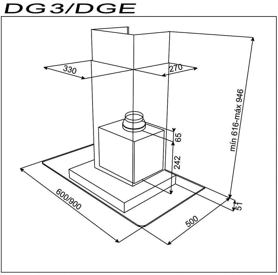 Kích thước lắp đặt máy hút mùi nhà bếp Teka - DG3 90
