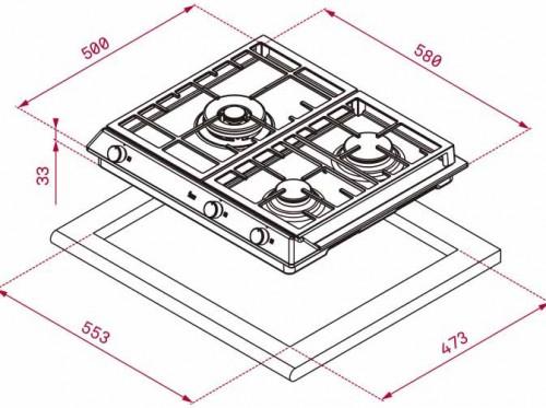 Kích thước lắp đặt bếp gas Teka EX 60.1 3G AI AL DR CI