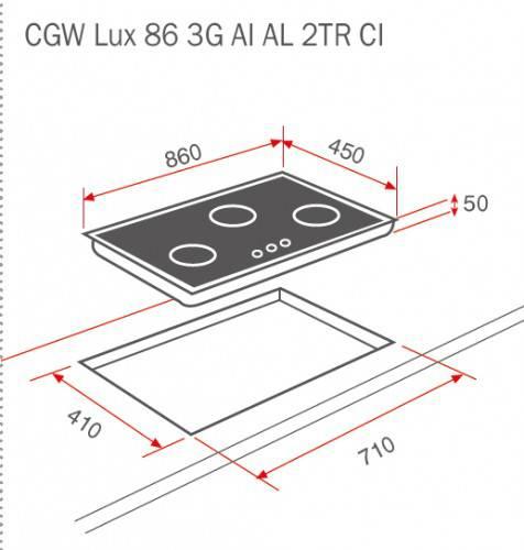 Kích thước thực tế của bếp ga cgw lux 86 3g