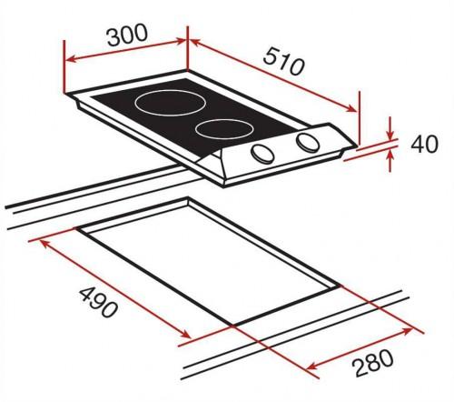 Kích thước lắp đặt bếp điện chính hãng Teka - VM 30 2P