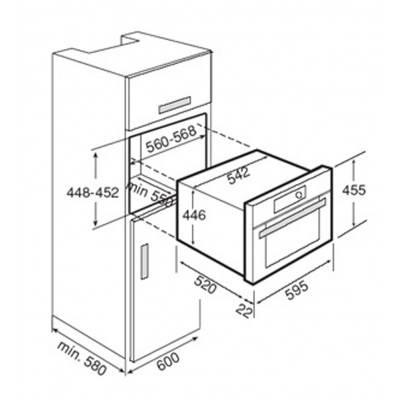 Kích thước lắp đặt lò vi sóng có nướng lắp âm Teka MC 32 BIS