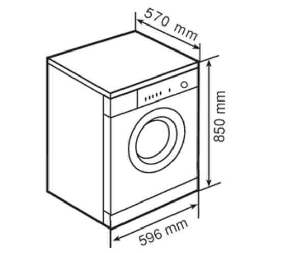 Kích thước máy giặt đứng độc lập nhập khẩu Teka TKX1 1000T