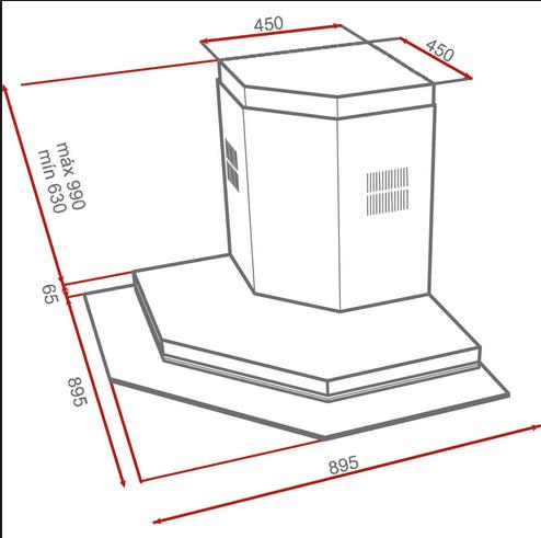 Kích thước lắp đặt máy hút mùi góc nhập khẩu Teka - DQ 90