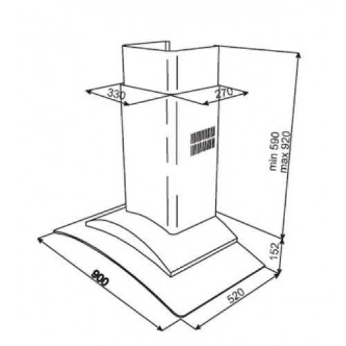Kích thước lắp đặt máy hút mùi nhập khẩu châu Âu - DF 90