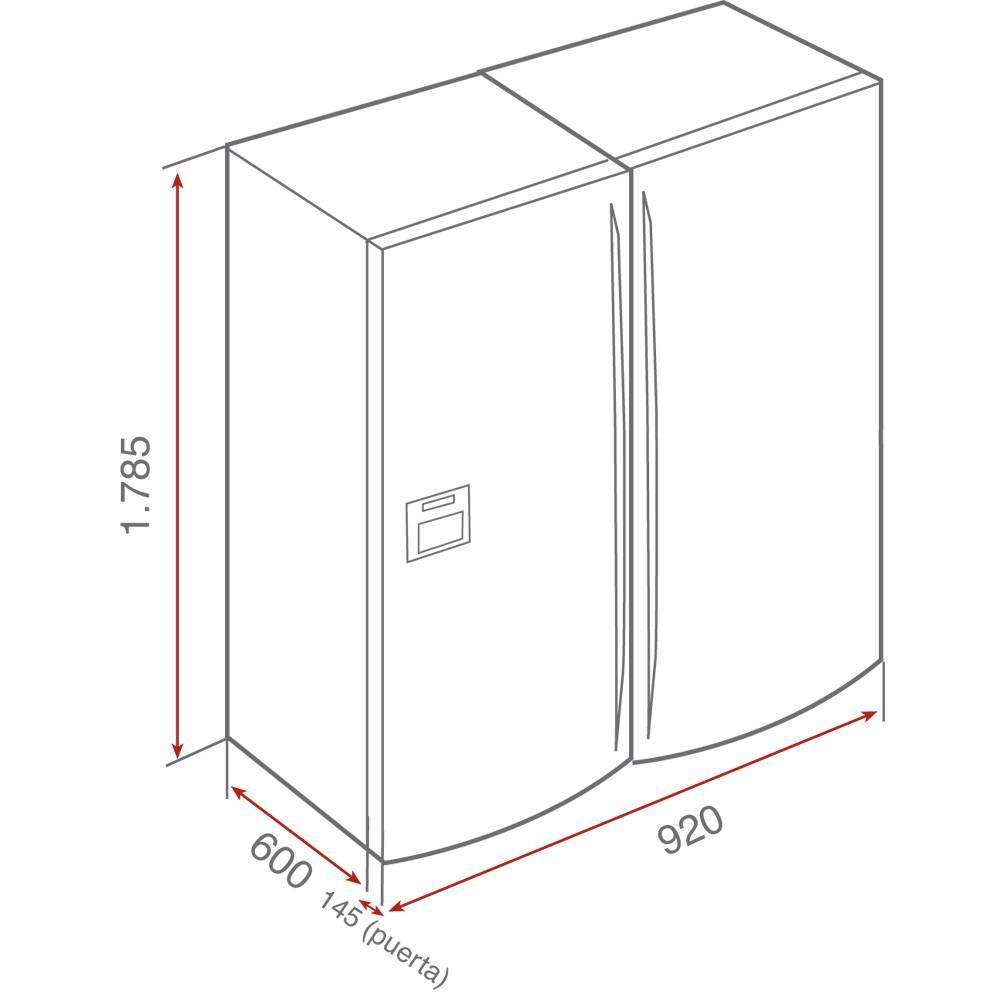 Kích thước tủ lạnh side by side chính hãng Teka NF2 620 X chính hãng