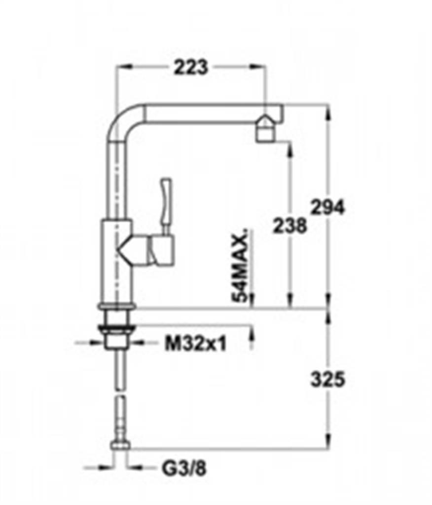 Kích thước lắp đặt vòi rửa cao cấp Teka INX 914