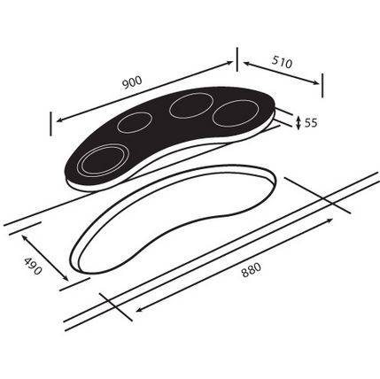 kích thước lắp đặt bếp gas âm kính Teka VR 90 4G AI AL TR