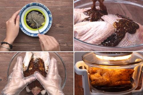 Cho sốt vào gà và mát xa đều cho gà thấm gia vị.