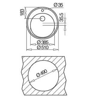 Kích thước lắp đặt chậu rửa bát 1 hố nhà bếp Teka - Centroval 45