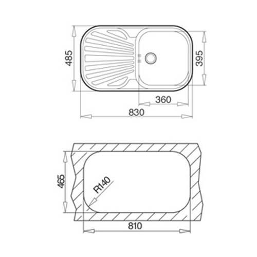 Kích thước lắp đặt Chậu rửa bát inox - stylo sink 1B1D