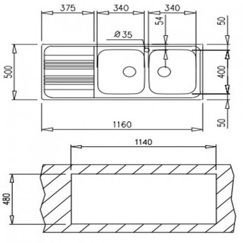 Lưu ý về kích thước lắp đặt chậu rửa bát Teka COSMOS 2B1D