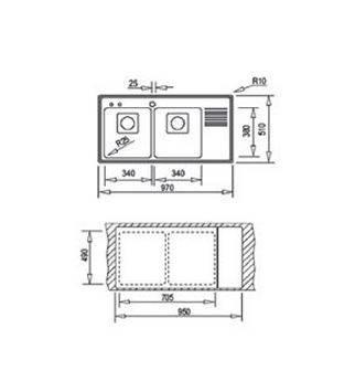 Lưu ý về kích thước lắp đặt chậu rửa bát Teka Frame 2B 1/2D
