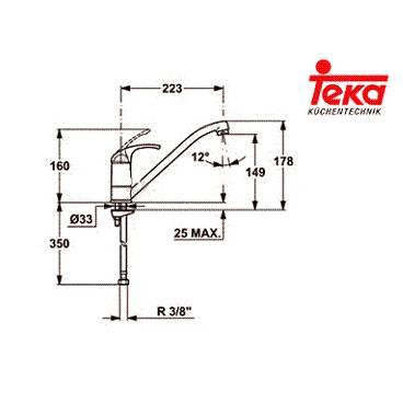 Kích thước lắp đặt vòi rửa Teka MT 302