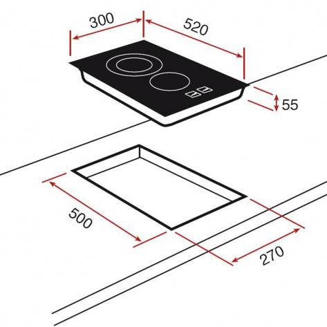 Kích thước chi tiết của bếp ga Teka HOB VT.2 2G AI AL CI BUT E1
