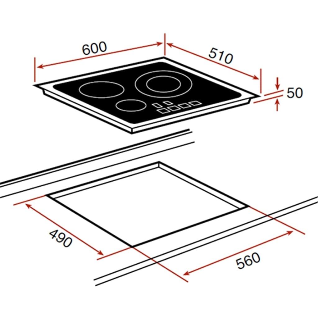 Kích thước lắp đặt bếp từ Teka IR 6031