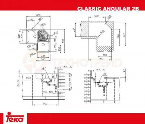 kích thước lắp đặt chậu rửa bát Teka ANGULAR 2B chính hãng