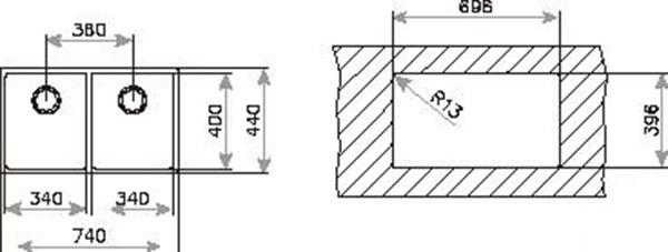 Kích thước chi tiết của chậu rửa Teka LINEA R15 2B 740