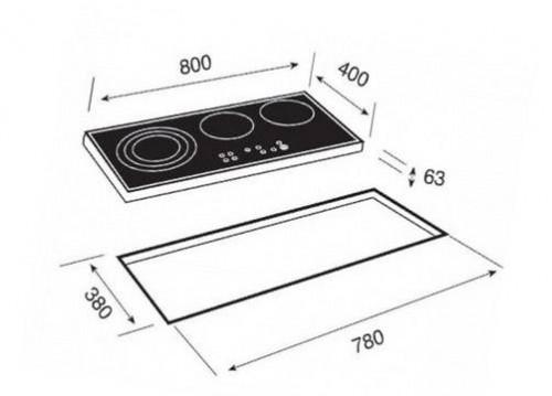 Kích thước lắp đặt bếp điện teka TR 831 HZ