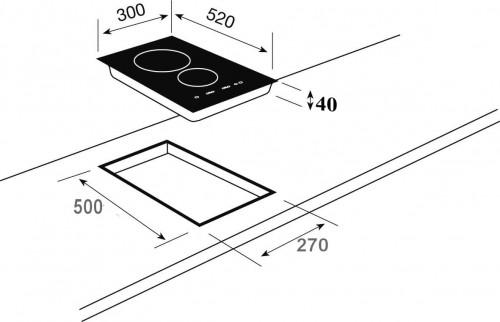 Kích thước lắp đặt bếp domino điện Teka VTTC 2P.1