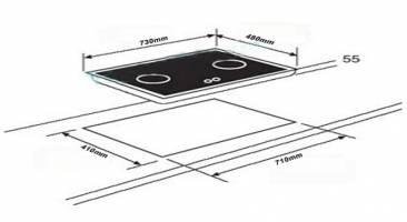 Kích thước lắp đặt bếp ga Teka GK Lux 73 2G al al