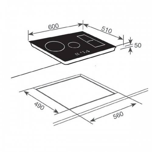 Kích thước lắp đặt bếp từ teka IRF 641