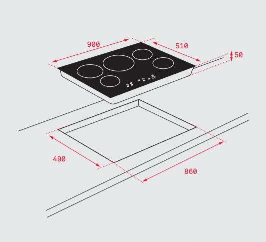 Kích thước lắp đặt bếp từ teka IRF 9430 chi tiết