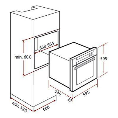 Kích thước lắp đặt lò nướng teka HS 635