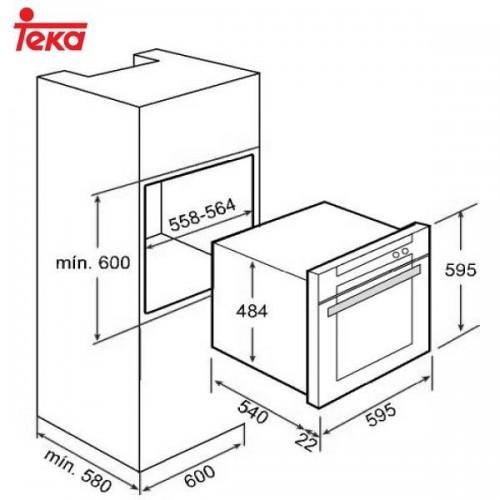 Kích thước lắp đặt lò nướng âm tủ Teka HE 720
