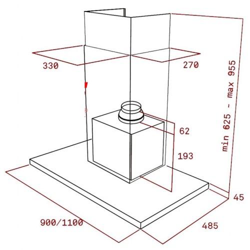 Kích thước chi tiết về máy hút mùi Dh 985 T