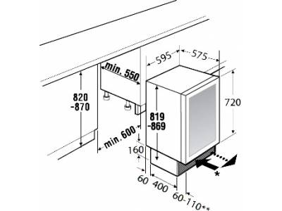 Kích thước lắp đặt tủ rượu Teka Kuppersbusch UWK 8200–0–2Z
