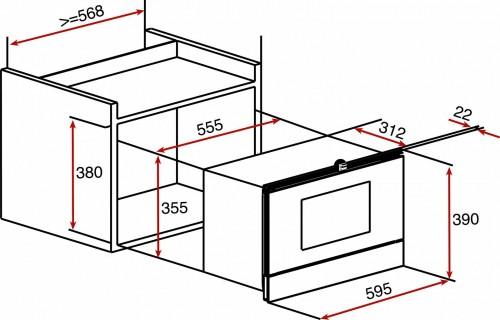Kích thước lò vi sóng âm tủ Teka MWE 22 BI