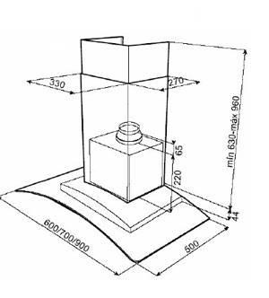Lưu ý về kích thước lắp đặt máy hút mùi Teka NC2 90