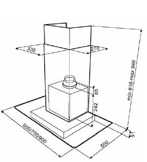 Kích thước lắp đặt máy hút mùi Teka DG 370