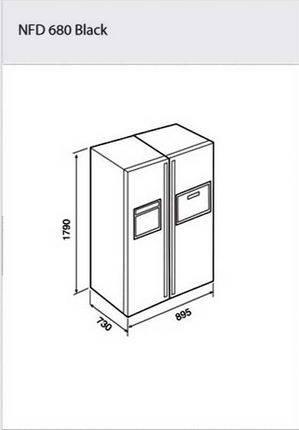 Kích thước lắp đặt tủ lạnh teka nfd 680 black