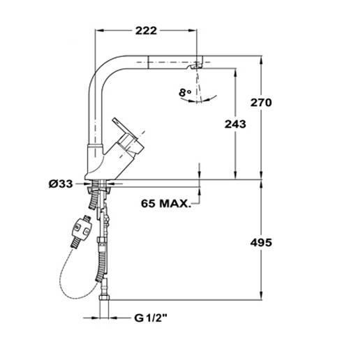 Kích thước vòi rửa bát teka Elan MW