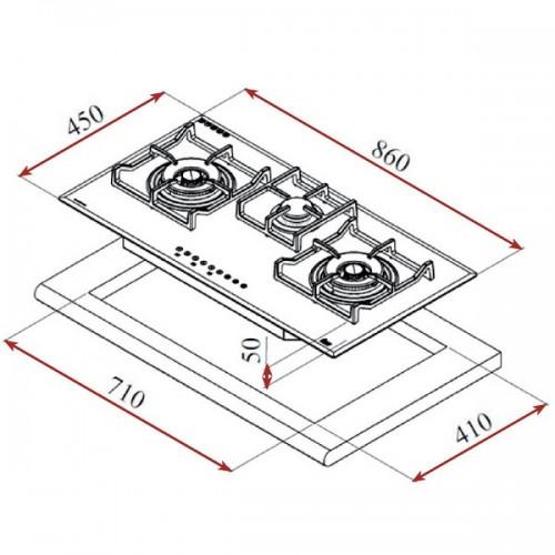 Kích thước lắp đặt bếp ga Teka CGW Lux 86 TC 3G AI AL TR