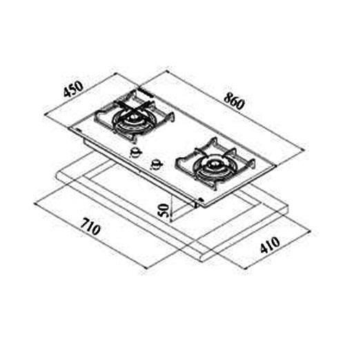 Kích thước lắp đặt bếp ga Teka CGW Lux 86 2G AI AL TR