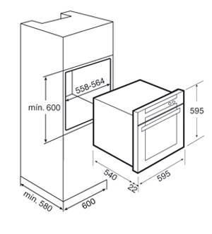 Kích thước lắp đặt lò nướng Teka HL 850