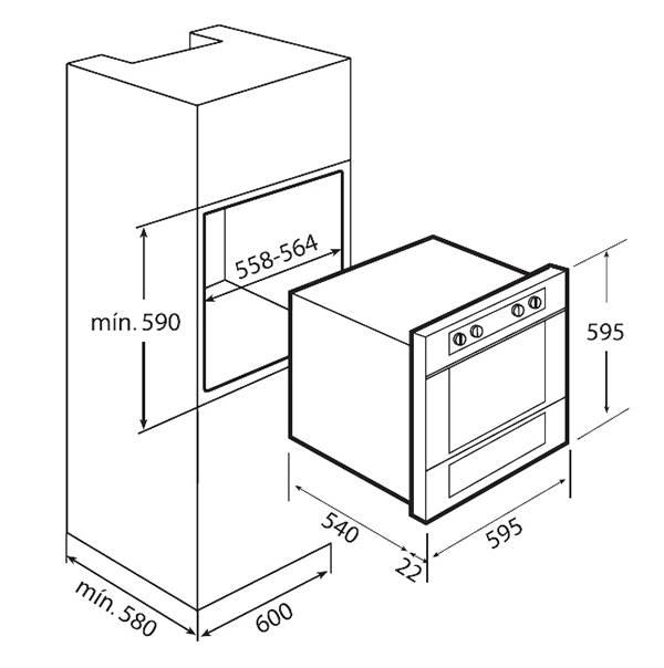 Kích thước chi tiết của lò nướng Teka HL 45.15 để lắp đặt