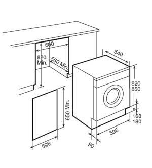 Lưu ý kích thước lắp đặt máy giặt lắp âm nhập khẩu Teka LI 1260S