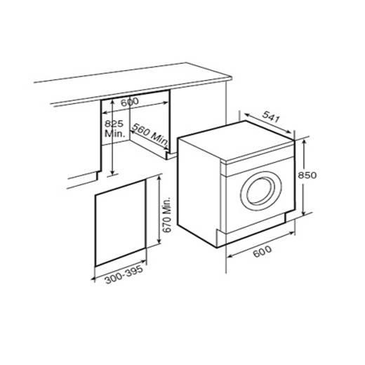 Lưu ý kích thước lắp đặt máy giặt có sấy Teka LSI4 1400