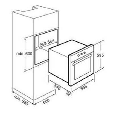 Lưu ý về kích thước lắp đặt lò nướng Teka HE 545