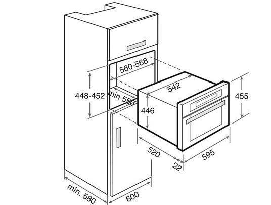 Lưu ý về kích thước lắp đặt lò nướng Teka HKL 970 SC