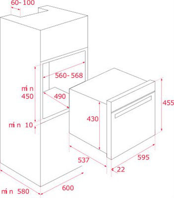 Kích thước lắp đặt lò hấp Teka HLC 847 SC