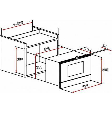 Lưu ý về kích thước lắp đặt Lò vi sóng có nướng Teka MWL 20 BI