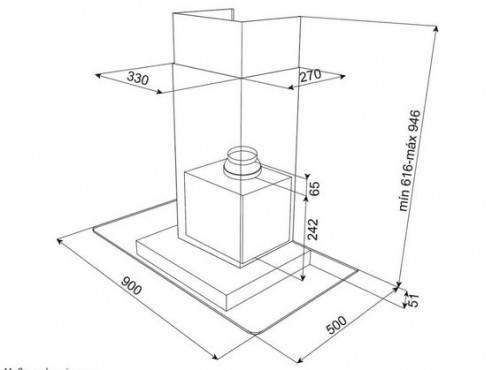 Lưu ý về kích thước lắp đặt máy hút mùi cánh kính Teka DG3 90