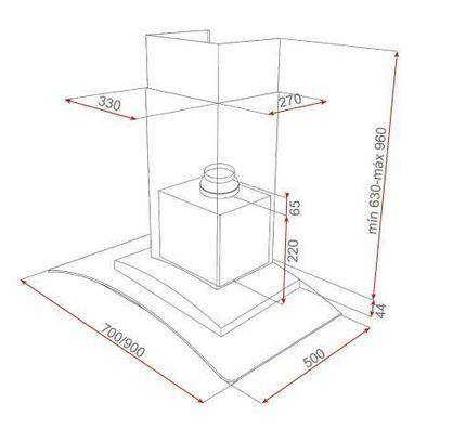 Lưu ý về kích thước lắp đặt máy hút mùi cánh kính Teka NC2 70/90