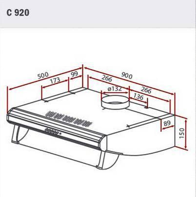 Lưu ý về kích thước lắp đặt máy hút mùi Teka C920