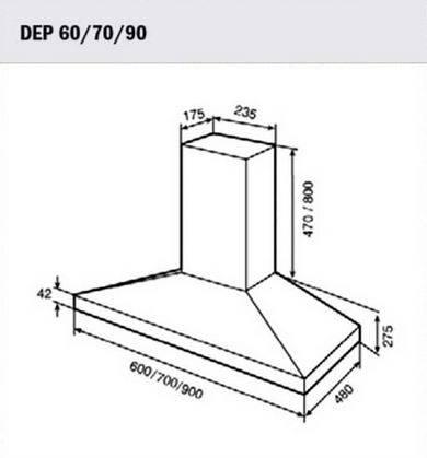 Lưu ý về kích thước lắp đặt máy hút mùi Teka DEP 60/70/90